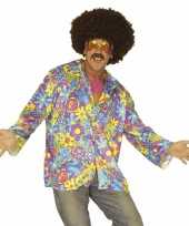 Originele hippie verkleed overhemd paars blauw heren carnavalskleding