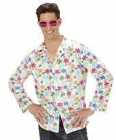 Originele hippie verkleed overhemd wit gekleurd heren carnavalskleding