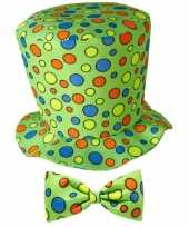 Originele hoge fun hoed groen strik carnavalskleding