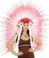 Originele hoofdband roze veren carnavalskleding