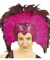 Originele hoofdtooi fuchsia roze veren volwassenen carnavalskleding