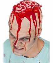 Originele horror hoofdkap open schedel carnavalskleding