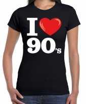 Originele i love s nineties t-shirt zwart dames carnavalskleding