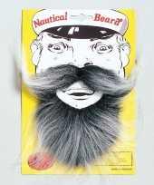Originele kapitein baardje grijze kleur carnavalskleding