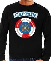 Originele kapitein captain verkleed sweater zwart heren carnavalskleding
