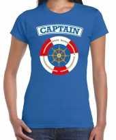 Originele kapitein captain verkleed t shirt blauw dames carnavalskleding