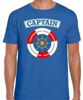 Originele kapitein captain verkleed t shirt blauw heren carnavalskleding