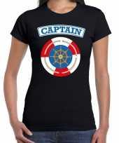 Originele kapitein captain verkleed t shirt zwart dames carnavalskleding