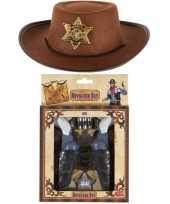 Originele kinder cowboy verkleed set hoed pistolen carnavalskleding