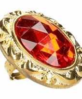 Originele koning koningin carnaval ring grote rode diamant carnavalskleding