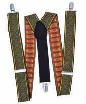 Originele kruispatroon bretels groen rood carnavalskleding