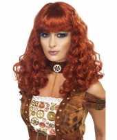 Originele krulletjespruiken vrouwen rood bruin carnavalskleding