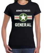 Originele landmacht armed forces verkleed t-shirt zwart dames carnavalskleding