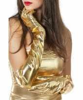 Originele lange glimmende handschoenen goud carnavalskleding