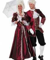 Originele lange hofdame carnavalskleding bordeaux dames