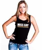 Originele lgbt singlet-shirt tanktop zwart miss gay dames carnavalskleding