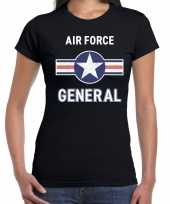 Originele luchtmacht air force verkleed t-shirt zwart dames carnavalskleding