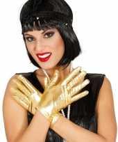 Originele metallic gouden verkleed handschoenen kort carnavalskleding