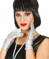 Originele metallic zilveren verkleed handschoenen kort carnavalskleding
