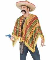 Originele mexicaanse poncho snor heren carnavalskleding