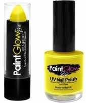 Originele neon gele uv lippenstift lipstick nagellak schmink set carnavalskleding