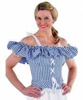 Originele oktoberfest tiroler blouse carmen blauw geruit carnavalskleding