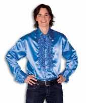 Originele overhemd blauw rouches heren carnavalskleding