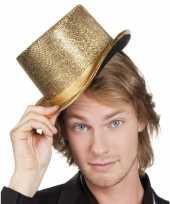 Originele party hoed hoog gouden glinsters carnavalskleding