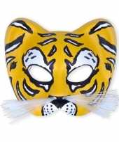 Originele party oogmasker gele tijger carnavalskleding