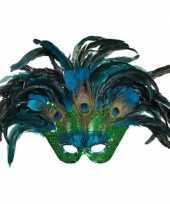Originele pauwenveren masker carnavalskleding