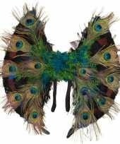 Originele pauwenveren vleugels carnavalskleding
