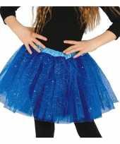 Originele petticoat tutu verkleed rokje kobalt blauw glitters meisje carnavalskleding