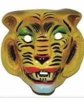 Originele plastic gele tijger masker volwassenen carnavalskleding