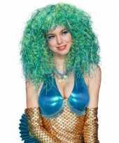 Originele pruik krullen blauw groen carnavalskleding