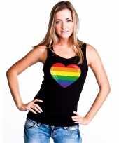 Originele regenboog vlag hart singlet shirt tanktop zwart dames carnavalskleding