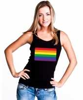 Originele regenboog vlag singlet shirt tanktop zwart dames carnavalskleding