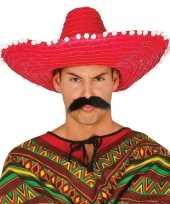 Originele rode sombrero mexicaanse hoed volwassenen carnavalskleding 10148184