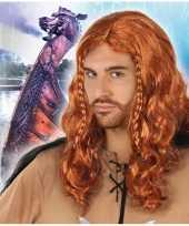 Originele rode viking verkleed pruik heren carnavalskleding