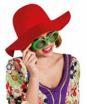 Originele ronde dames hoed rood carnavalskleding