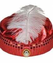 Originele rood arabisch sultan hoedje diamant veer carnavalskleding