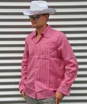 Originele roze cowboy overhemd ruitjes carnavalskleding