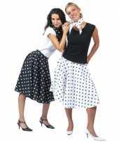 Originele s rok zwart witte stippen carnavalskleding
