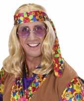 Originele sixties herenpruik blond lang haar carnavalskleding