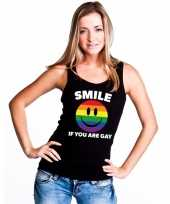 Originele smile if you are gay emoticon tanktop singlet-shirt zwart dames carnavalskleding
