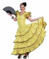 Originele spaanse flamencocarnavalskleding geel zwarte stippen