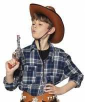 Originele speelgoed cowboy revolver pistool zilver carnavalskleding