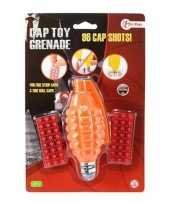 Originele speelgoed handgranaat plaffertjes schoten oranje c carnavalskleding