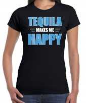 Originele tequila makes me happy drank t shirt carnavalskleding zwart dames