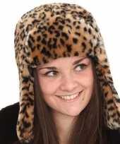 Originele tijgerprint bontmuts vrouwen carnavalskleding