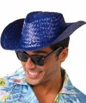 Originele toppers blauwe cowboy strohoed volwassenen carnavalskleding